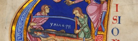 Illuminated initial from Lambeth Bible MS3 showing Isaiah being sawn in two