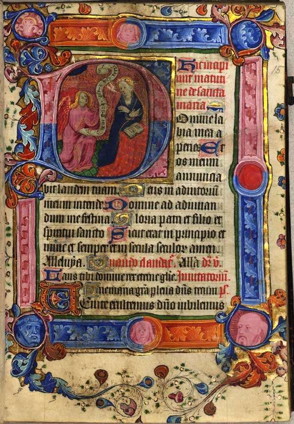 Page from the Hours of the Virgin with historiated initial showing the Annunciation.
