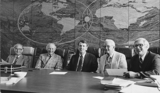 Stott at a meeting of the Lausanne Committee for World Evangelization (Executive Committee) in Springfield, Missouri in September 1978.