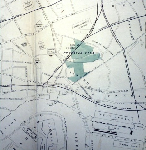 Map showing the land bequeathed by Mr. William Cotton, edged in green