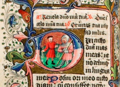 David and Goliath. Note the sling in David's hand. f.61v.