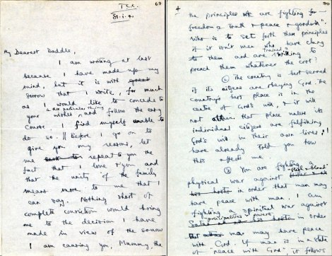 Stott's letter of justification to his father STOTT/11/3/1 f. 67 r. and f. 70 r.