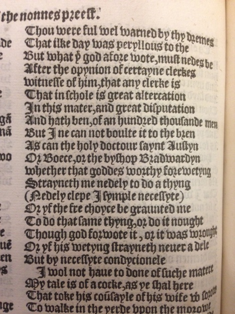 Line 422 of Chaucer, Nun's Priest's Tale
