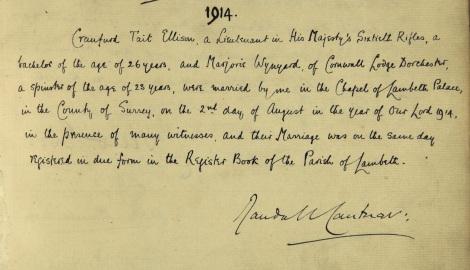 Marriage record of Craufurd Ellison