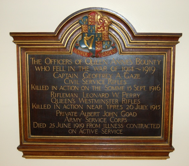 Queen Anne's Bounty World War One memorial