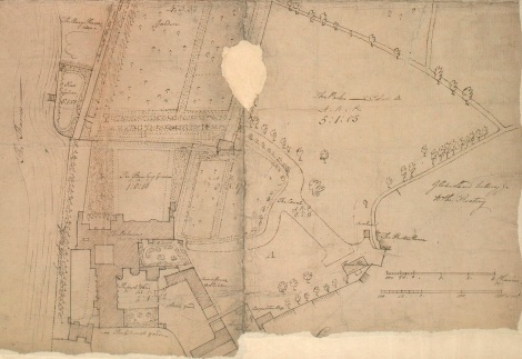 Plan of the Palace and grounds adjacent in 1783, surveyed before alterations were made by Archbishop Moore following the death of his predecessor Archbishop Cornwallis.