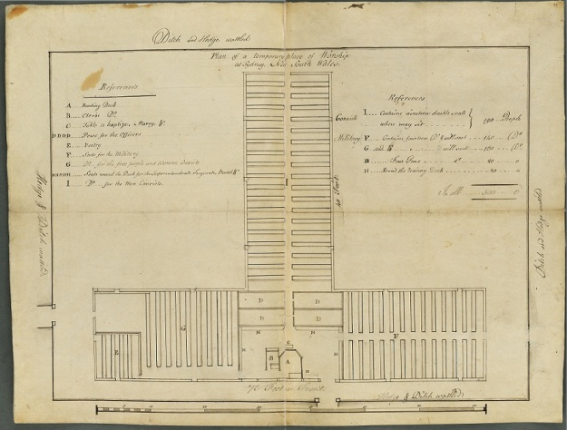 Plan of a temporary place of worship at Sydney, New South Wales [1794]. The plan depicts seating for 500, with areas for male and female convicts, soldiers, free persons, officers etc.