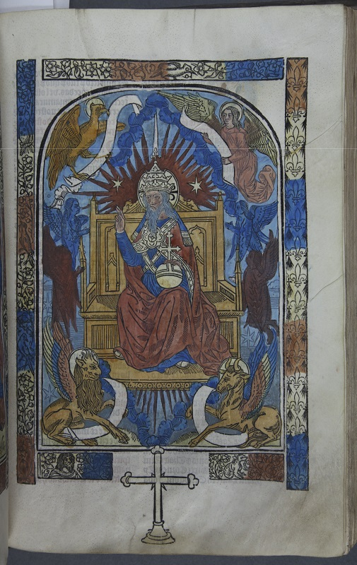 Hand-coloured woodcut of God the Father from the Canon of the Mass
