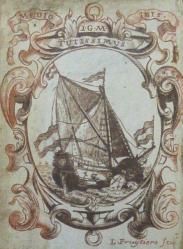 18th century bookplate of the Dutch sea captain, J. G. Michiels (A96.6/J23)