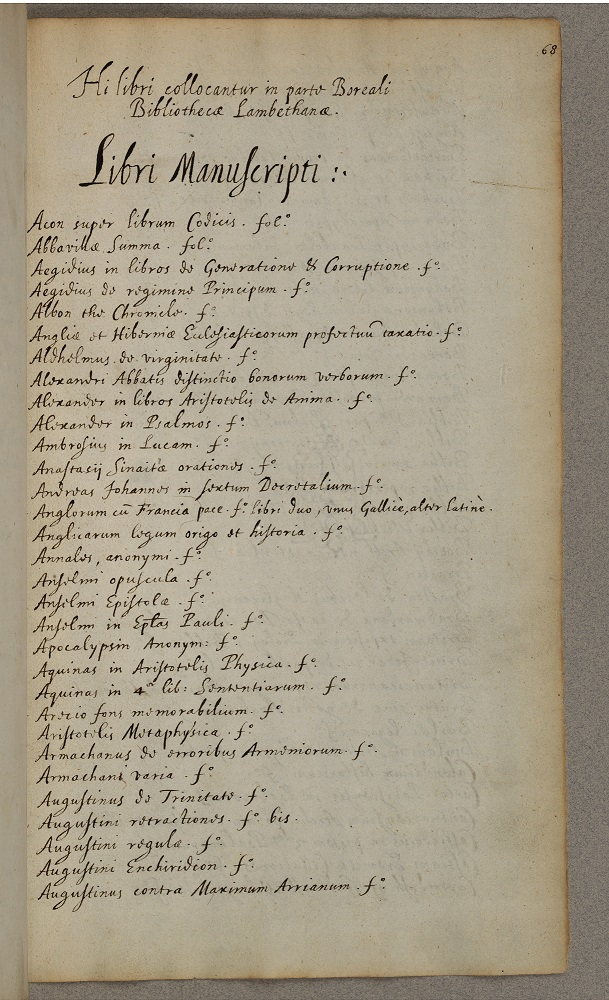 The first catalogue of the Library Records, 1612 (ref: LR F1 f68r)