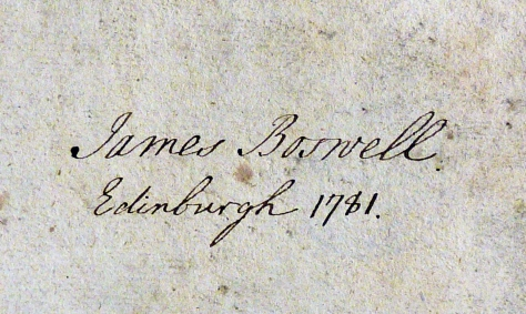 James Boswell's autograph on the flyleaf of his copy of