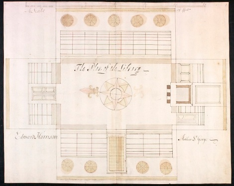 Plan of the public library erected by Tenison in Castle Street, Westminster, in 1685 (MS 4444/1)