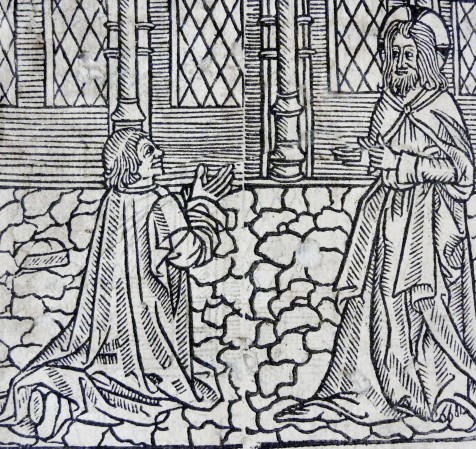 Woodcut of the penitent kneeling before Christ