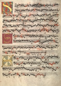 Page of music from the Arundel Choirbook (MS 1)